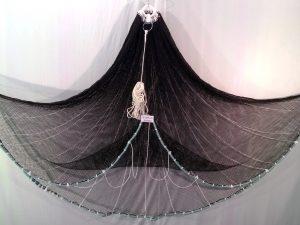Wurfnetz 2 m/ Nylon 8 mm schwarz knotenlos