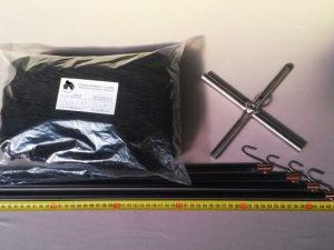 Senknetz Komplett 1,5 x 1,5 m/ PAD 15×15 mm schwarz – knotenlos