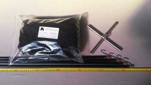 Senknetz Komplett 1,5 x 1,5 m/ PAD 15×15 mm schwarz – knotenlos - 1