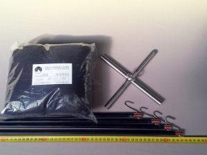 Senknetz Komplett 1,5 x 1,5 m/ PAD 4×4 mm schwarz – knotenlos