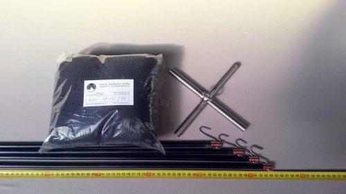 Senknetz Komplett 1,5 x 1,5m + Nylon 4×4 mm schwarz – knotenlos - 1