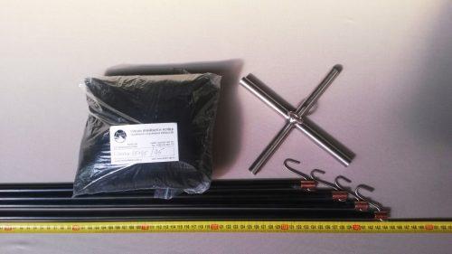 Senknetz Komplett 1,5 x 1,5m + Nylon 5×5 mm schwarz – knotenlos - 1