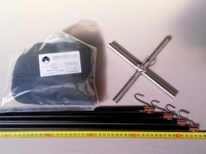 Senknetz Komplett 1,5 x 1,5 m/ PAD 8×8 mm schwarz – knotenlos