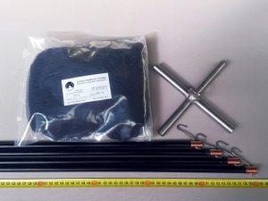 Senknetz Komplett 2 x 2m + Nylon 15×15 mm schwarz – knotenlos