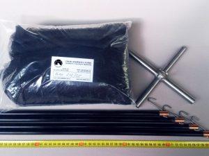 Senknetz Komplett 2 x 2 m/ PAD 5×5 mm schwarz – knotenlos