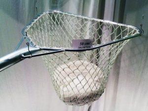 Kescher eckig aus verzinktem Stahl 50/ 30×30/2,5 mm handgeflochten