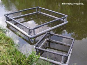 Schwimmendes Hälterungsnetz 0,75 x 0,75 x 0,8m mit doppeltem Rahmen, Nylon 5/0,6 mm